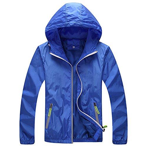 Panegy Women's Windbreaker Jacket Front-Zip Jacket Men's Skin Jacket Zippered Pockets Solid Blue XL ()