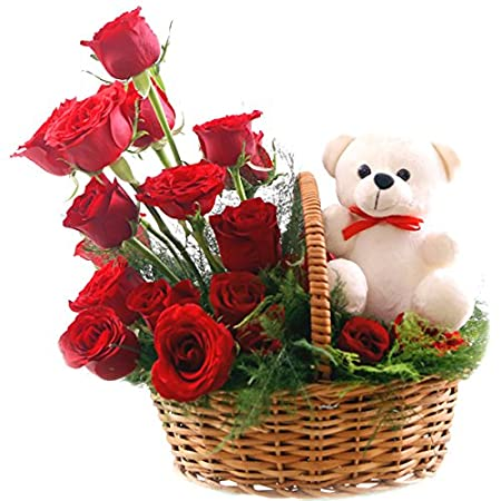 Florazone Cute Buddy 20 Red Roses Basket With Soft Toy Birthday Flower Anniversary Flowers Special Days Flowers Same Day Delivery Amazon In Garden Outdoors