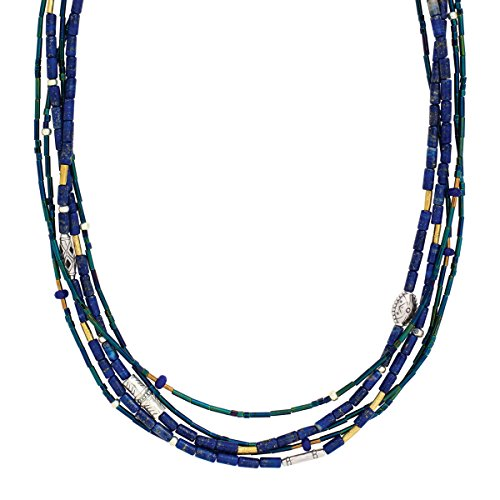 Silpada 'Into the Blue' Natural Lapis & Quartzite Multi-Strand Necklace in Sterling Silver & Brass -