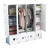 KOUSI Portable Wardrobe Closet for Bedroom Clothes Armoire Dresser Cube Storage Organizer, 10 Cubes&2 Hanging Sections