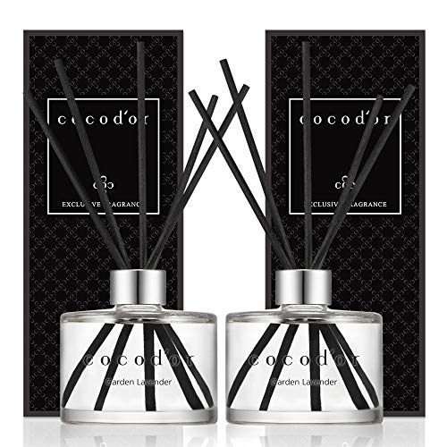 Cocod'or Signature Reed Diffuser, Garden Lavender Reed Diffuser, Reed Diffuser Set, Oil Diffuser & Reed Diffuser Sticks, Home Decor & Office Decor, Fragrance and Gifts, 6.7oz 2pack from Cocod'or
