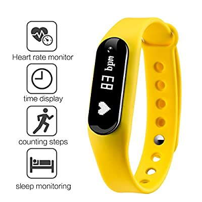 Gosund Fitness Tracker C6 Smart Wristband Bluetooth4.0 Heart Rate Monitor Call SMS Reminder IP65 Waterproof Mini Band with OLED Screen (Yellow-1)