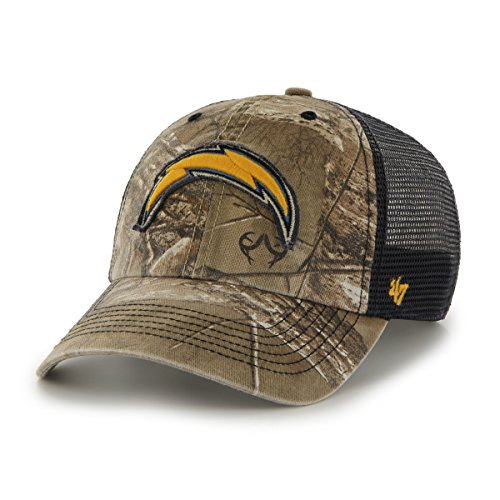('47 NFL San Diego Chargers Huntsman Closer Camo Mesh Stretch Fit Hat, One Size, Realtree Camouflage)