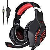 PECHAM Gaming Headset for Xbox One, PS4, PS3, Nintendo Switch,PC with Mic -Noise Cancelling Gaming Headphone for Cell Phone, Laptops, Computer (Red)