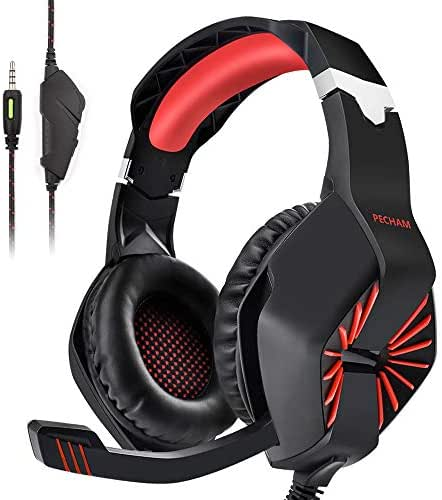 PECHAM 3.5mm Jack Gaming Headset for Xbox One, PS4, PC with Mic - Gaming Headphone for Cell Phone, Laptops, Computer (Red)