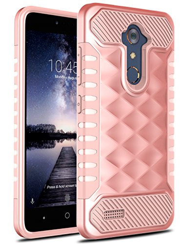 ZTE ZMAX Pro Case, ZTE Zmax Duo LTE Case, ZTE Blade X Max Case, OTOONESlim Dual Layer Armor Heavy Duty Scratch Resistant Protective Rugged TPU Bumper Cover for ZTE Grand X Max 2 (Rose Gold) (Cricket Phone Zte Grand Cases)
