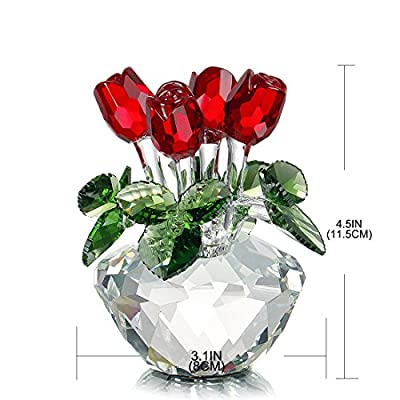 H&D Red Rose Figurine Ornament Spring Bouquet Crystal Glass Flowers Gift-Boxed
