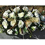 Winter-Cemetery-Saddle-Cemetery-Grave-Saddle-Headstone-Flowers-Cream-Roses-Cemetery-Flowers-Large-Headstone-Saddle