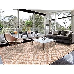 Garden and Outdoor HOMEGNOME Indoor Outdoor Moroccan Trellis Rug (8'x10′, Neutral Brown) outdoor rugs