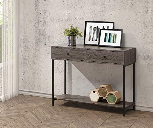 Weathered Grey Finish Accent Console Sofa Table Lower Shelf with Two Drawers - Color: Weathered Grey Materials: Hardwood, MDF, Metal Features two drawers with lower shelf - living-room-furniture, living-room, console-tables - 51ooXmuSCcL -