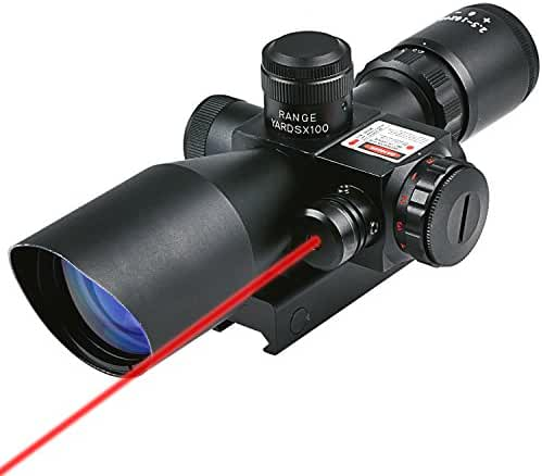 CVLIFE Optics Hunting Rifle Scope 2.5-10x40e Red & Green Illuminated Crosshair Gun Scopes with Free 20mm & 11mm Rail Mount