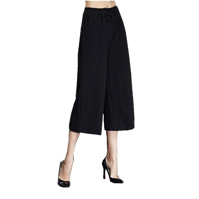 ukiss elástico de la cintura de la mujer décimas pantalones ancho pierna  Palazzo Pantalones Capri negro  Amazon.es  Ropa y accesorios c96ccbd17f76