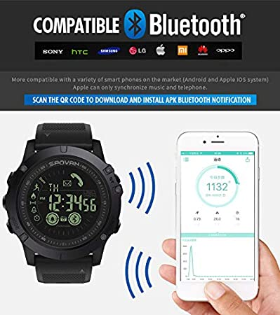 Reloj Digital, Modaworld Reloj Inteligente Hombre Mujer Relojes Deportivos Hombres Smartwatch 33-Month Standby Time 24h All-Weather Monitoring (Negro): ...
