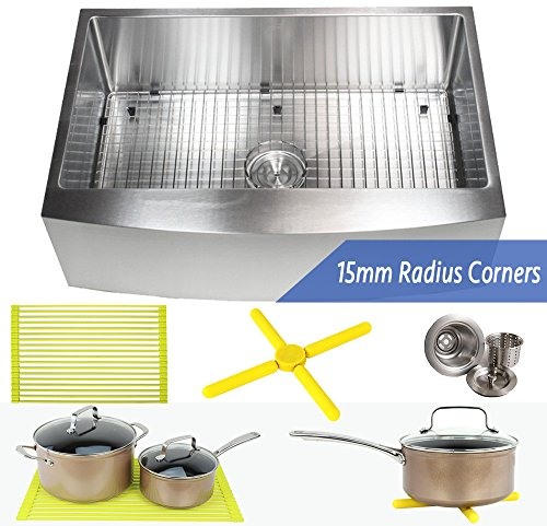 Ariel 33 Inch Farmhouse Apron Front Stainless Steel Kitchen Sink Package - 16 Gauge Curved Front Single Bowl Basin - Complete Sink Pack + Bonus Kitchen Accessories - Ideal For Home Improvement (Sink Triple Basin)