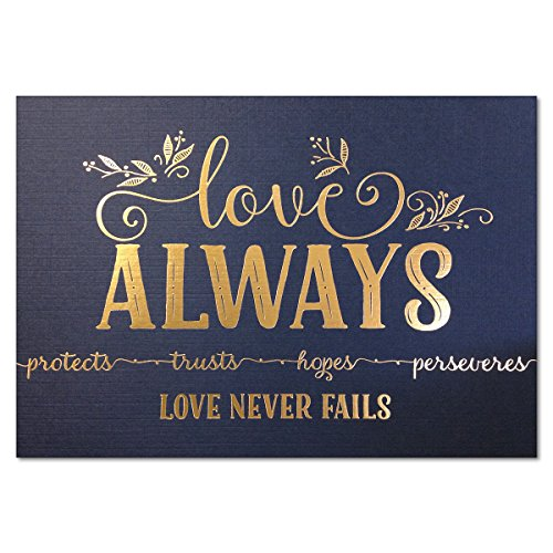 5x7 Love Never Fails, Christian Art Print, 1 Cor 13 Metallic Gold Foil (Unframed Bible Verse Wall Art)