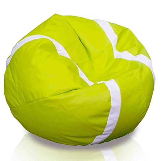 Ecopuf Puf de Tenis - Puf de Piel sintética con diseño de Pelota ...