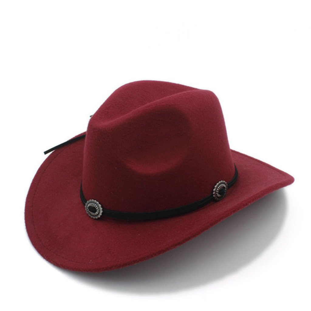 AOBRITON Wool Women Men Fedora Gentleman Western Cowboy Cowgirl Jazz Sombrero Cap Hat