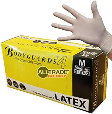 LATEX DISPOSABLE GLOVES Medium POWDER FREE BODYGUARD 4