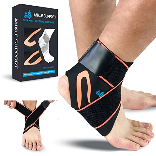 BLUE PINE Ankle Support Adjustable Ankle Brace Pair(2+2 PCs) with Compression Wrap Support (Orange, Large)