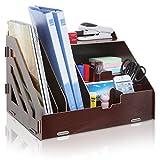 All-in-One Brown Wood Desktop Office Supplies Organizer / Magazine & Document Folder Rack - MyGift®