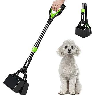 AUXSOUL Dog Poop Scooper 32in Extra Long Handle Foldable Pet Pooper Scooper High Tension Spring Shovel for Cat Dog Puppy Outdoor Indoor Poo Remover Grabber Picker Blue