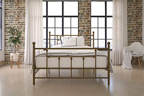 DHP Manila Metal Bed with Victorian Style Headboard and Footboard, Includes Metal Slats, Full Size, Gold (Brass Full Size Footboard)