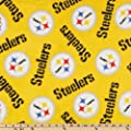 NFL Fleece Pittsburgh Steelers Medium Logo Yellow Fabric By The Yard