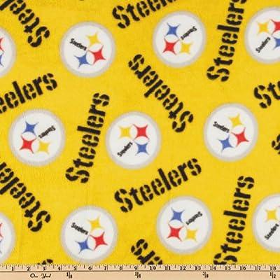 NFL Fleece Pittsburgh Steelers Medium Logo Yellow Fabric By The Yard