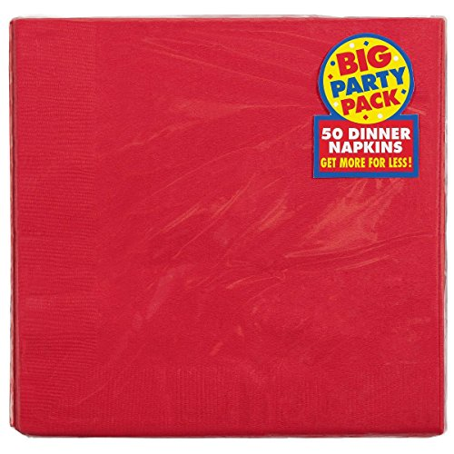 "Party Perfect Vibrant 2-Ply Dinner Napkins Tableware, Apple Red, paper , 8"" x 8"", Pack of 50"
