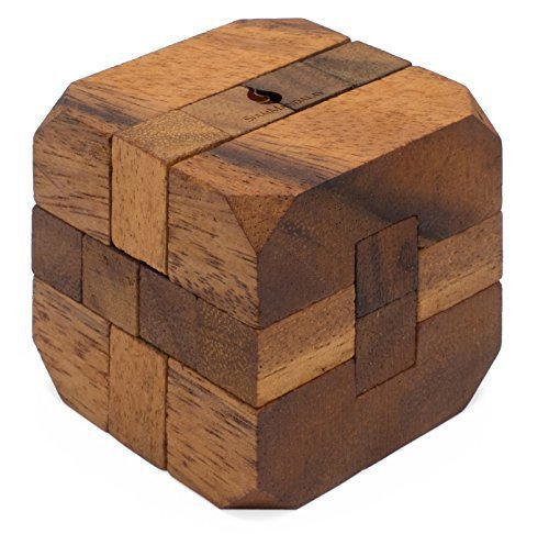 Hidden Passage: Handmade  Organic 3D Brain Teaser Wooden Puzzle for Adults from SiamMandalay with Free SM Gift Box(Pictured)