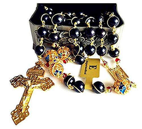 elegantmedical Handmade Plated 14K Gold Wire Wraped Bead AAA Black 10mm Pearl Rosary Cross Necklace Box