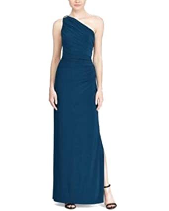 c4781ee4f8 Amazon.com: RALPH LAUREN Womens One-Shoulder Brooch Gown 14 Luxe ...