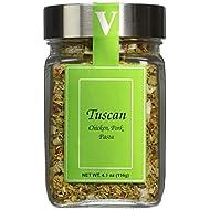 Tuscan Seasoning - 4.1 Oz Jar - Victoria Gourmet - All Natural Ingredients - Garlic, bell pepper, green onion, rosemary, oregano, red pepper flakes, black pepper, sesame seed, lemon peel, sea salt, rosemary oil - use on chicken, pork, or pasta