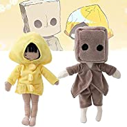 Game Little Nightmares 2 Plushies, Six and Mono Plush Figure Stuffed Toy Doll Game Fans and Kids Birthday Chri