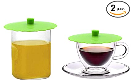 93a743538a1 JSS Set of 2 Round Silicone Mug Coffee Cup Cap, Seal Air Tight Drink Cup  Lid, Tea Glass Cup Cover, Spill Proof Suction Lid Tumblers (GreenA)