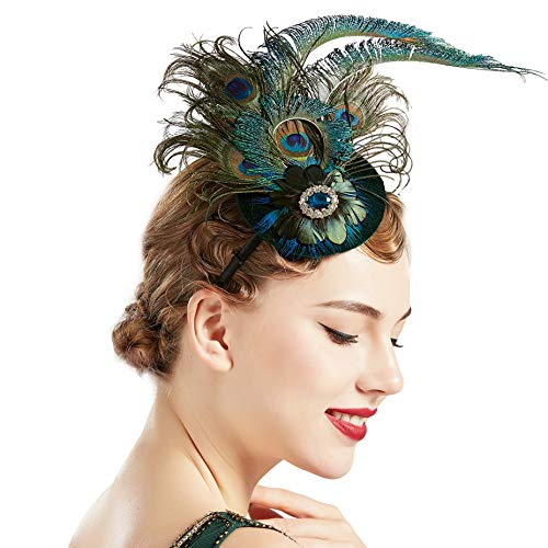 BABEYOND 1920s Flapper Fascinator Feather Pillbox Hat Fascinator for Tea Party ()