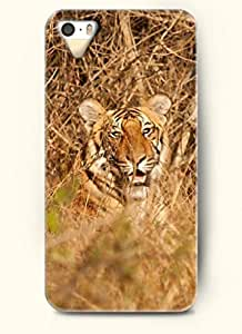 OOFIT phone case design with Tiger Lying on the Grass for Apple iPhone 4 4s