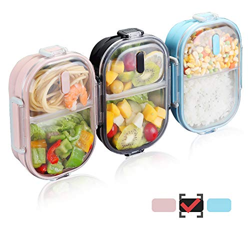 (WORTHBUY 2 Compartments Bento Lunch Box with Fork and Spoon, Insulated Stainless Steel Portion Control Lunch Containers for Kids and Adults, 100% Leakproof and Keep Food Separated(Black))