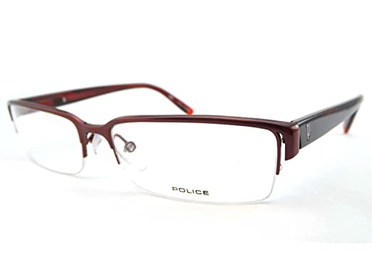 d1a6a225fe6 Police Semi Rimless Mens Glasses Frame V8065 0SBY  Amazon.co.uk  Clothing
