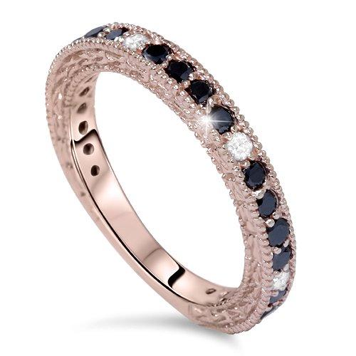 14k Pink Rose Gold 7/8ct Black & White Diamond Wedding Ring
