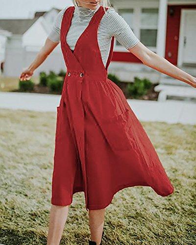 Jeanewpole1 Des Femmes De V Sangle De Cou Robe Sans Manches Ensemble Une Ligne Occasionnel Robe Chasuble Jarretelles Avec Des Poches Rouges