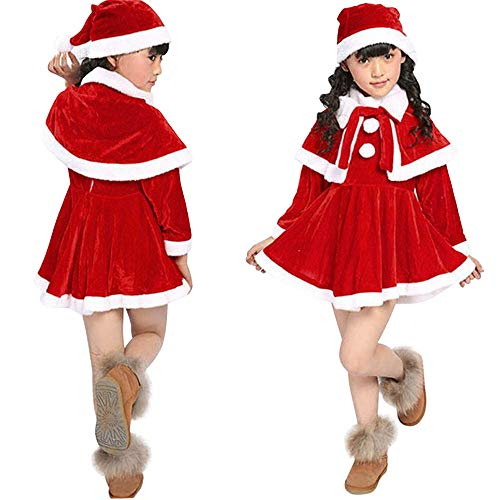 Santa Snowball (OWMEOT Baby Girls Snowball Holiday Picture Dress with Shawl Santa Hat (Red, 160))