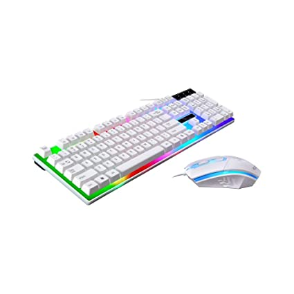 Amazon.com: OWSOO LED Rainbow Color Backlight Adjustable Gaming Game USB Wired Practical Keyboard Mouse Set: Home Improvement