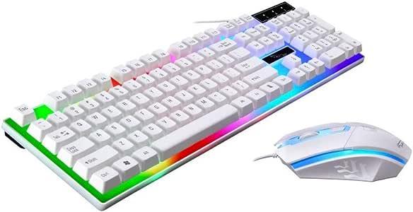 OWSOO Packs de Teclado y Ratón Rainbow LED Teclado Gaming y Ratón ...