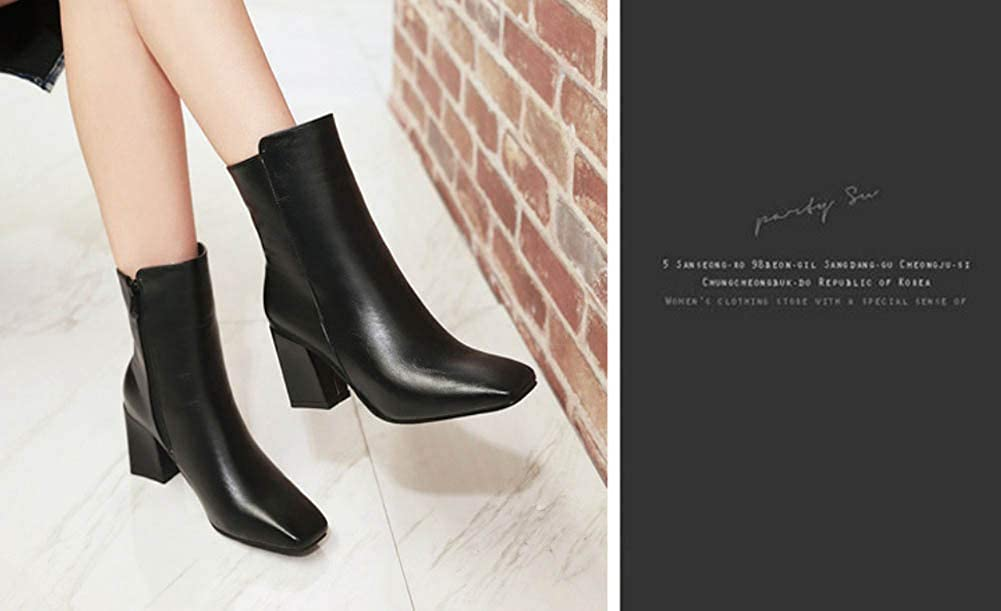 7Cm Chunkly Heel Square Toe Ankle Bootie Women Martin Boot OL Court Shoes Eu Size 32-48 Black