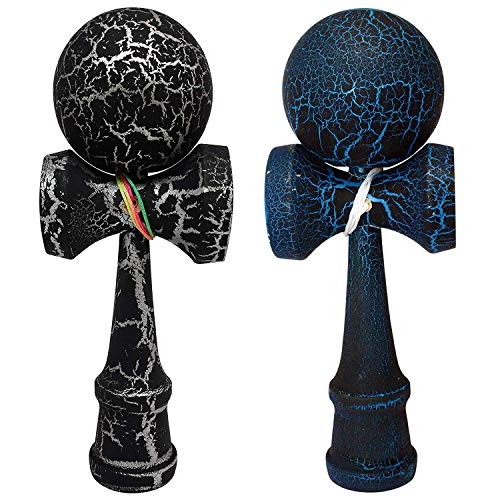 2 PACK - The Best Kendama For All Kinds Of Fun (full size) - Awesome Colors: Black/Blue and Black/Silver Crackle -Solid Wood - A Tool To Create Better Hand And Eye Coordination - KENDAMA TOY CO.