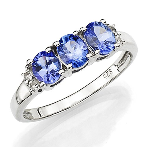 Sterling Silver Ring with 3 pcs Round Simulated Blue Tanzanite Between 4pcs Simulated Topaz, Size 7