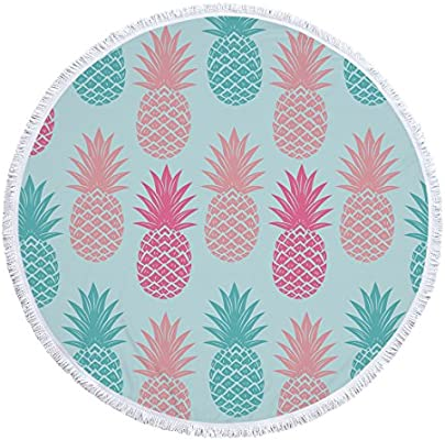 swall owuk Piña redondas playa toalla Mantel de picnic tapiz ...