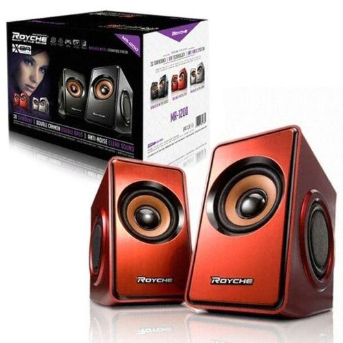 ROYCHE MR-1200 Laptop Desktop 2ch Stereo 3D Speaker, USB Powered – Red