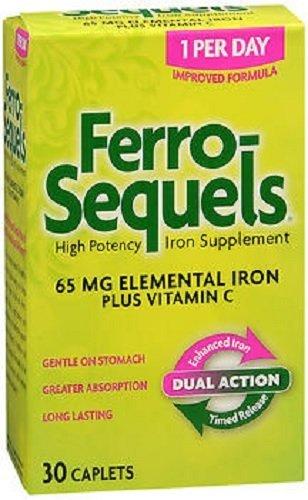 Ferro-Sequels Elemental Iron 65mg + Vitamin C Caplets 30 ct(2 Pack)